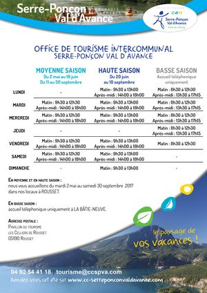 Office de tourisme Intercommunal - Horaires 2017