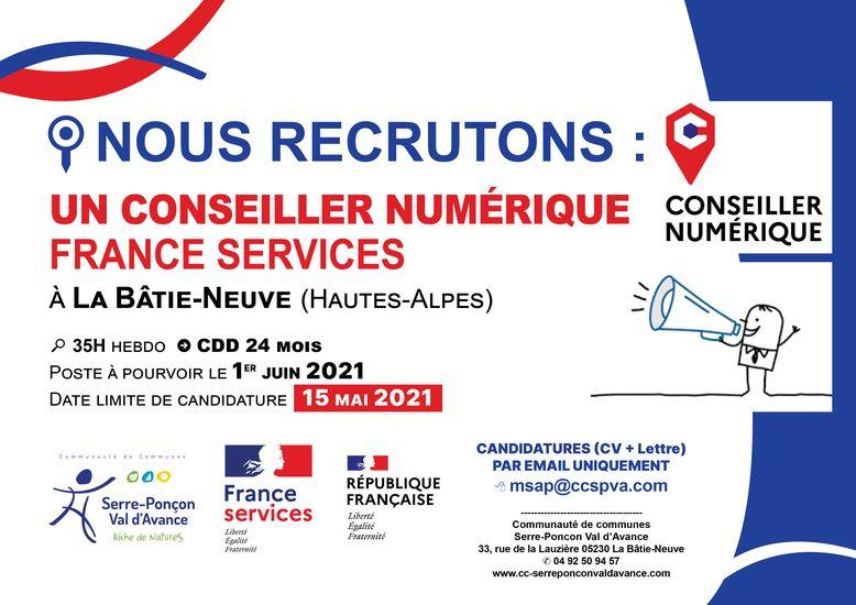 L'espace France Services de La Bâtie-Neuve recherche son Conseiller Numérique !